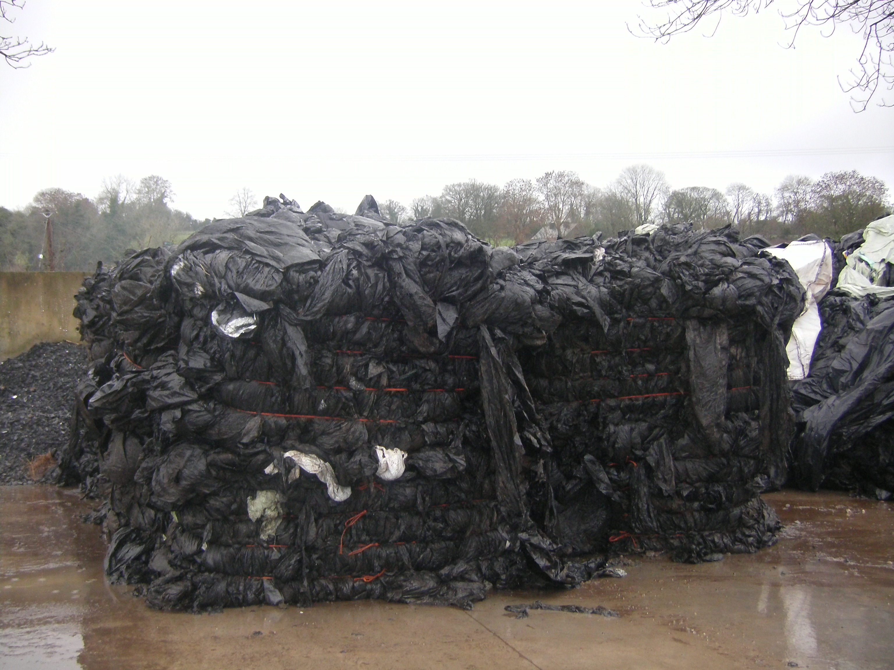 Farm plastic baled in preparation for recycling